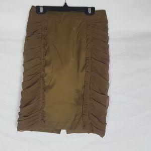 H&M Ruffle Olive Green Tan Mini Pencil Skirt SZ 4